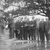 Returned Soldiers' Fathers' Association members laying a wreath on the ANZAC Memorial obelisk, ANZAC Parade, Centennial Park, Sydney, August 1918 [picture]. [National Library of Australia]